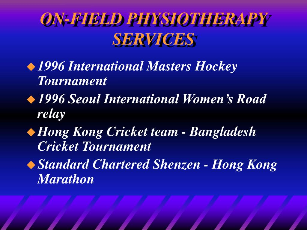 ON-FIELD PHYSIOTHERAPY SERVICES