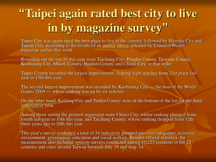 Taipei again rated best city to live in by magazine survey