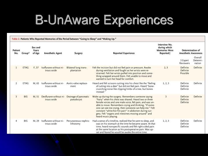 B-UnAware Experiences