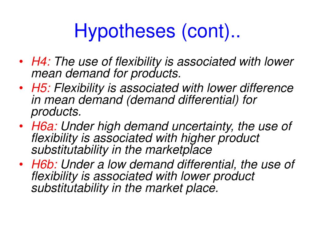 Hypotheses (cont)..