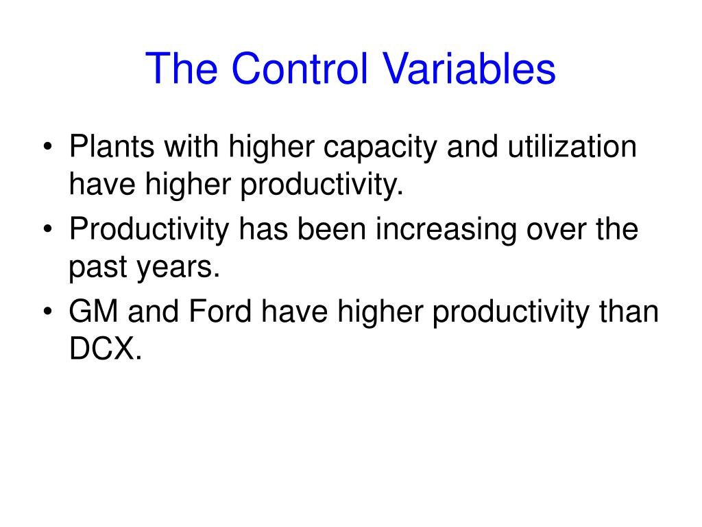 The Control Variables