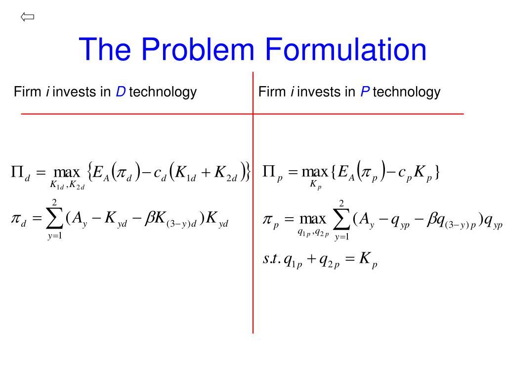 The Problem Formulation
