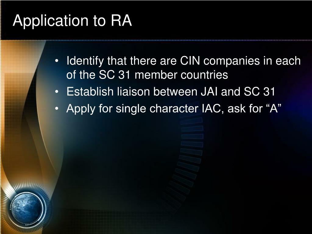 Application to RA