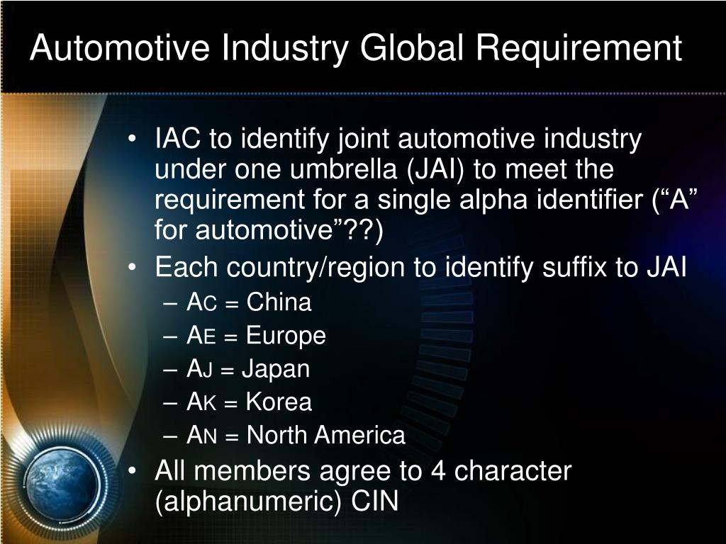 Automotive Industry Global Requirement