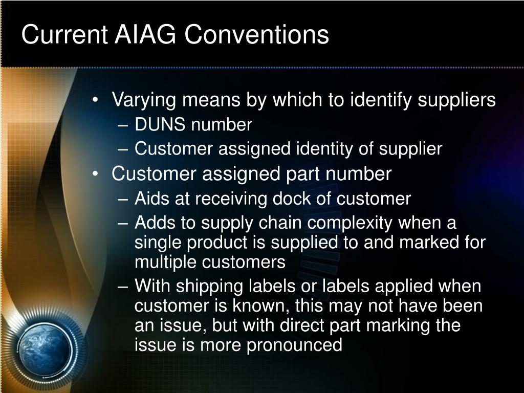 Current AIAG Conventions
