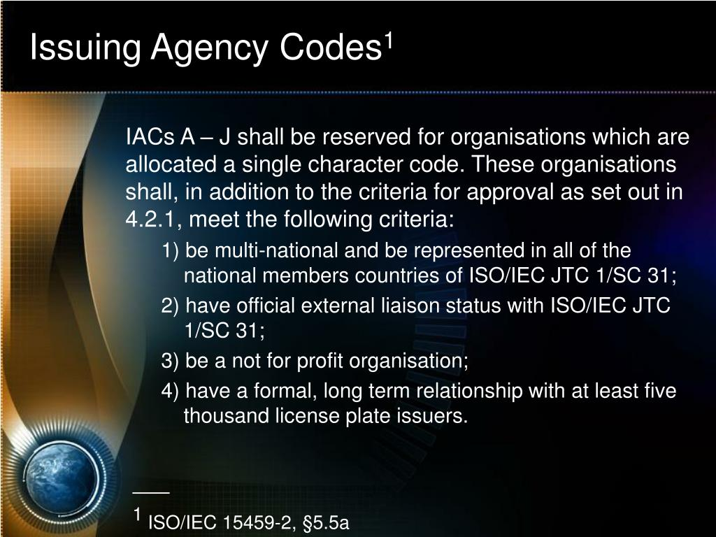 Issuing Agency Codes