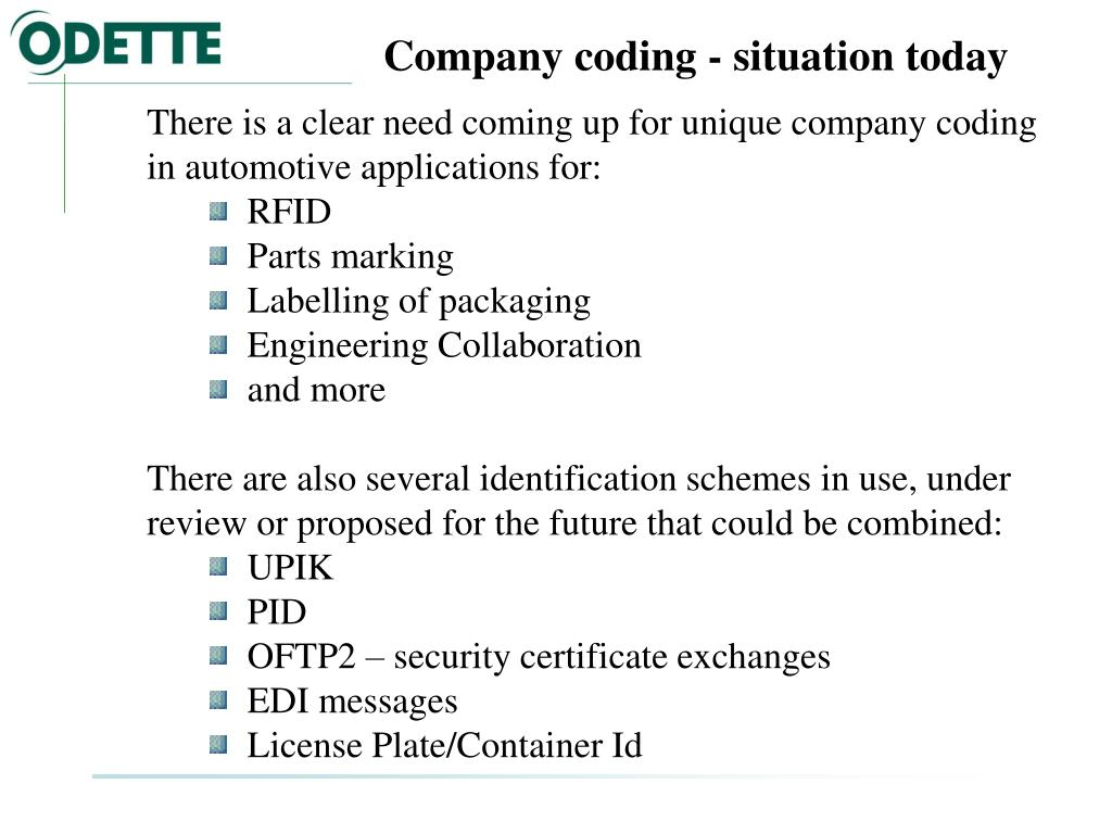Company coding - situation today