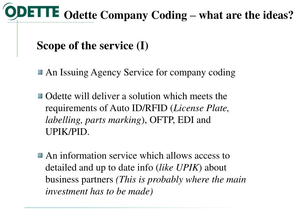 Odette Company Coding – what are the ideas?
