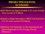 projected e20 fuel economy