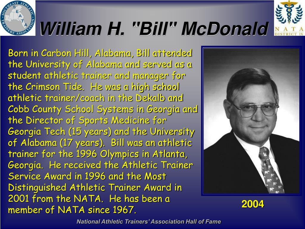 """William H. """"Bill"""" McDonald"""