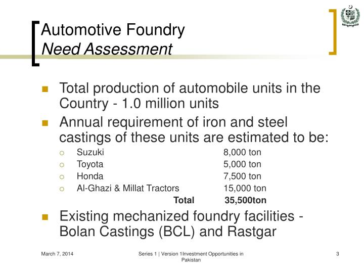 Automotive foundry need assessment