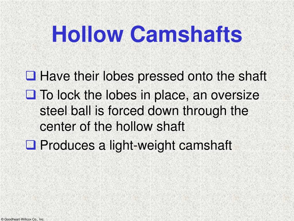 Hollow Camshafts