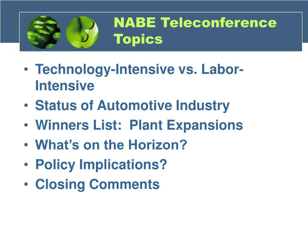 NABE Teleconference Topics