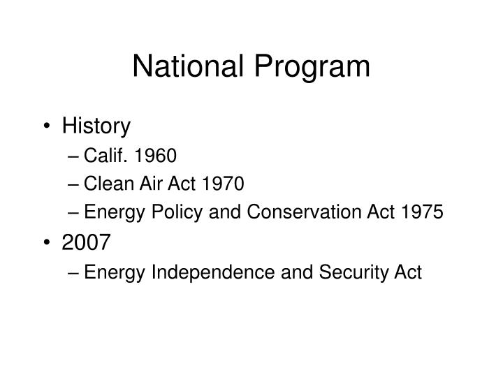 National Program