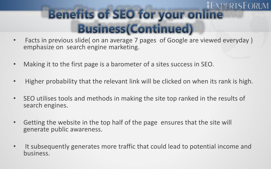 Benefits of SEO for your online