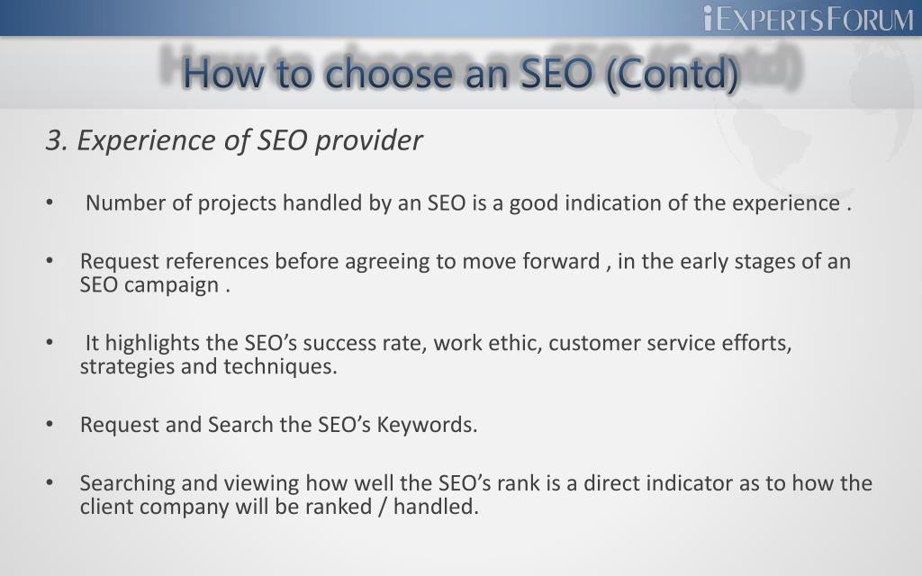 How to choose an SEO (Contd)