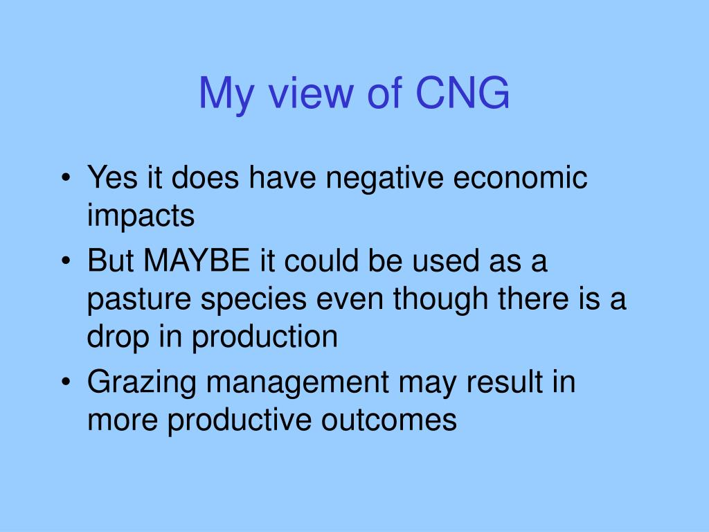 My view of CNG