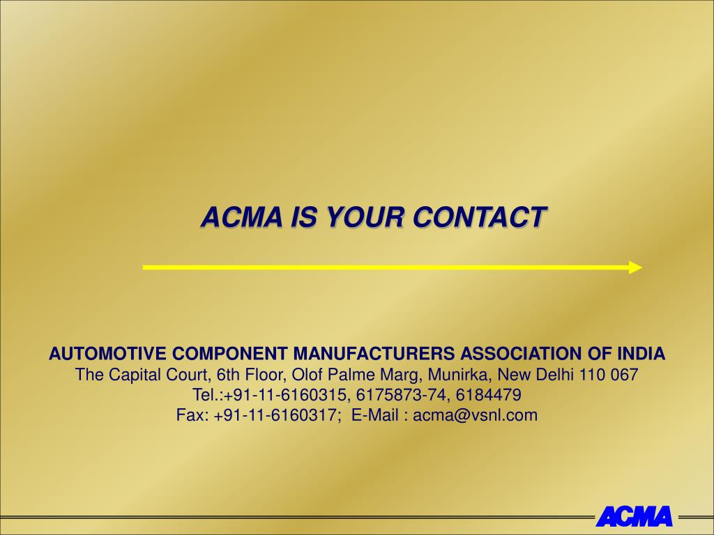 ACMA IS YOUR CONTACT