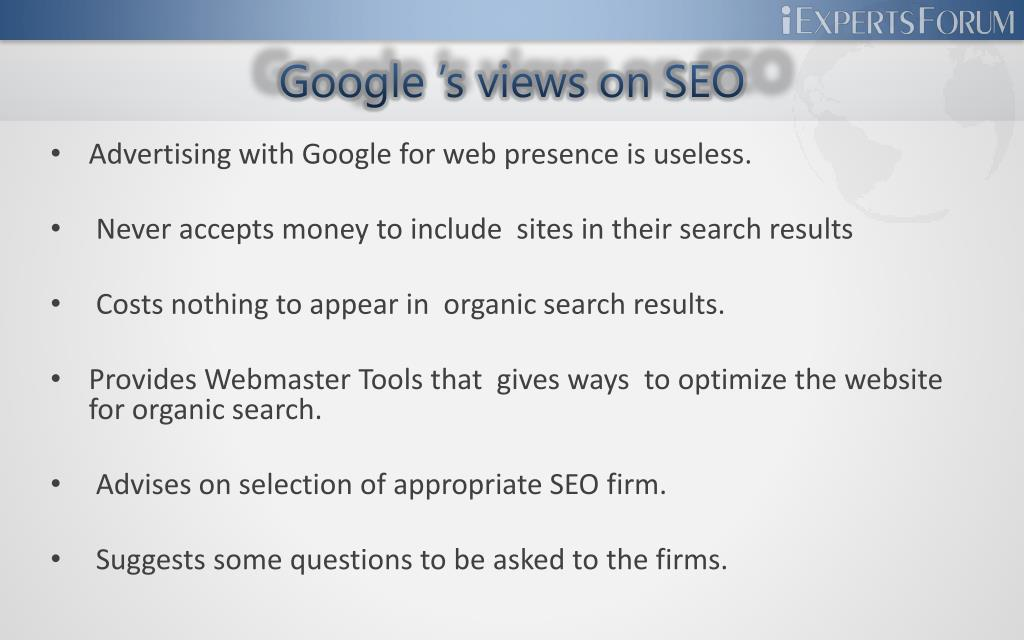 Google 's views on SEO