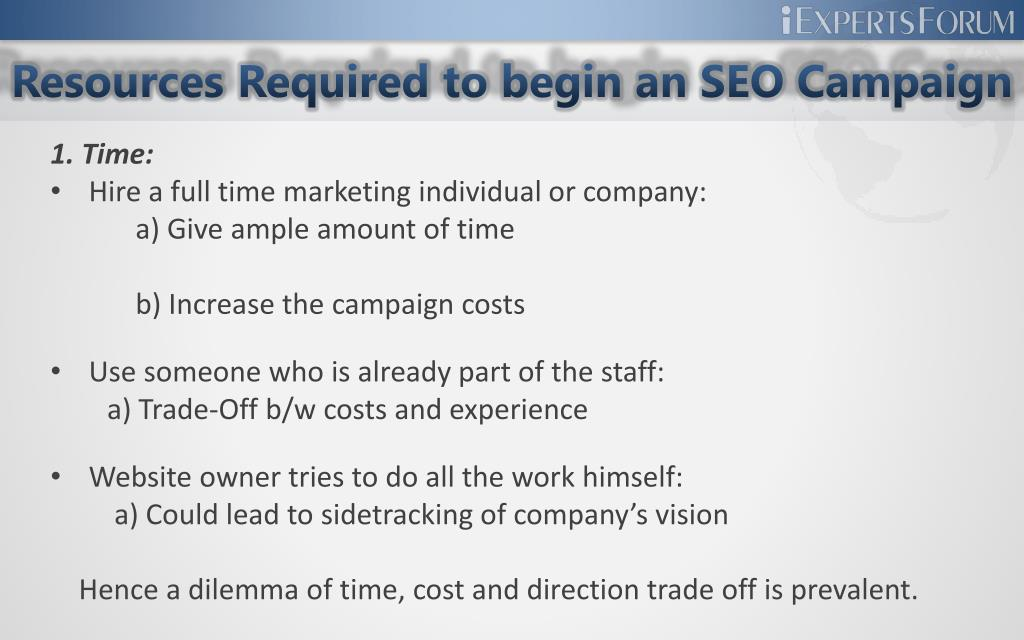 Resources Required to begin an SEO Campaign