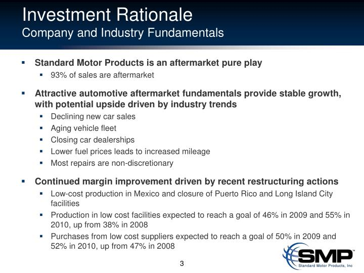 Investment rationale company and industry fundamentals