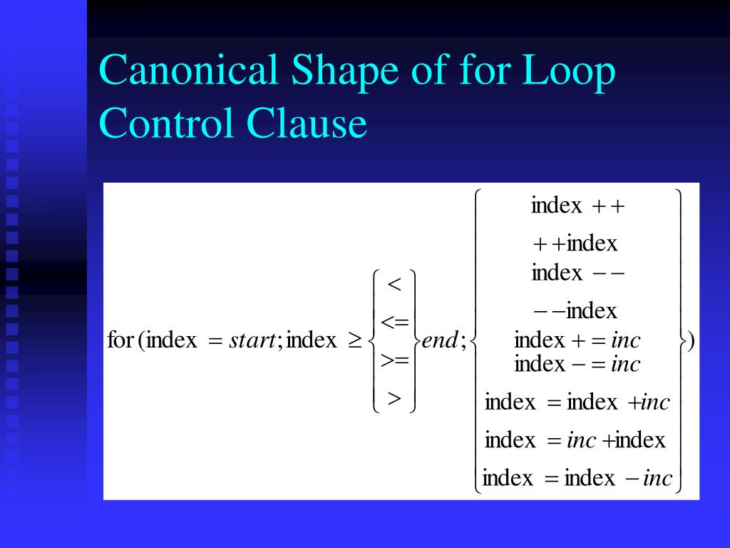 Canonical Shape of for Loop Control Clause
