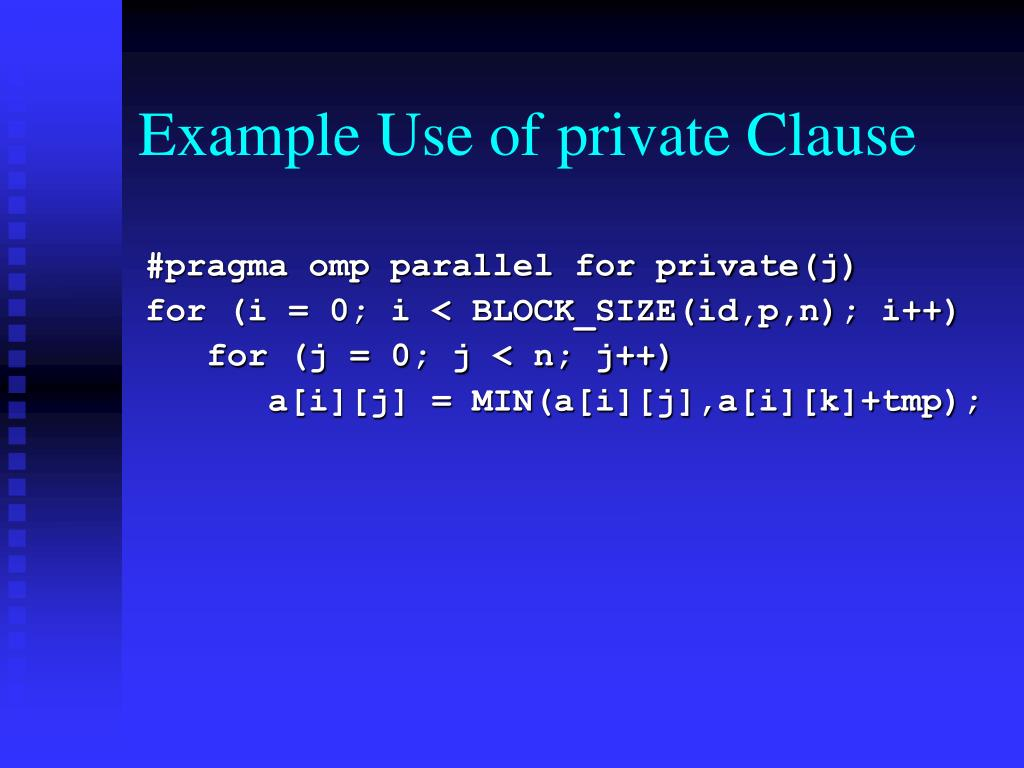 Example Use of private Clause