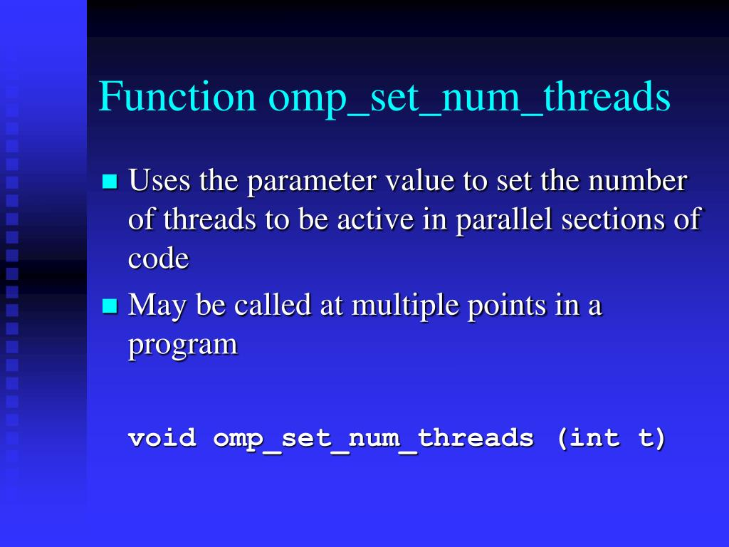 Function omp_set_num_threads
