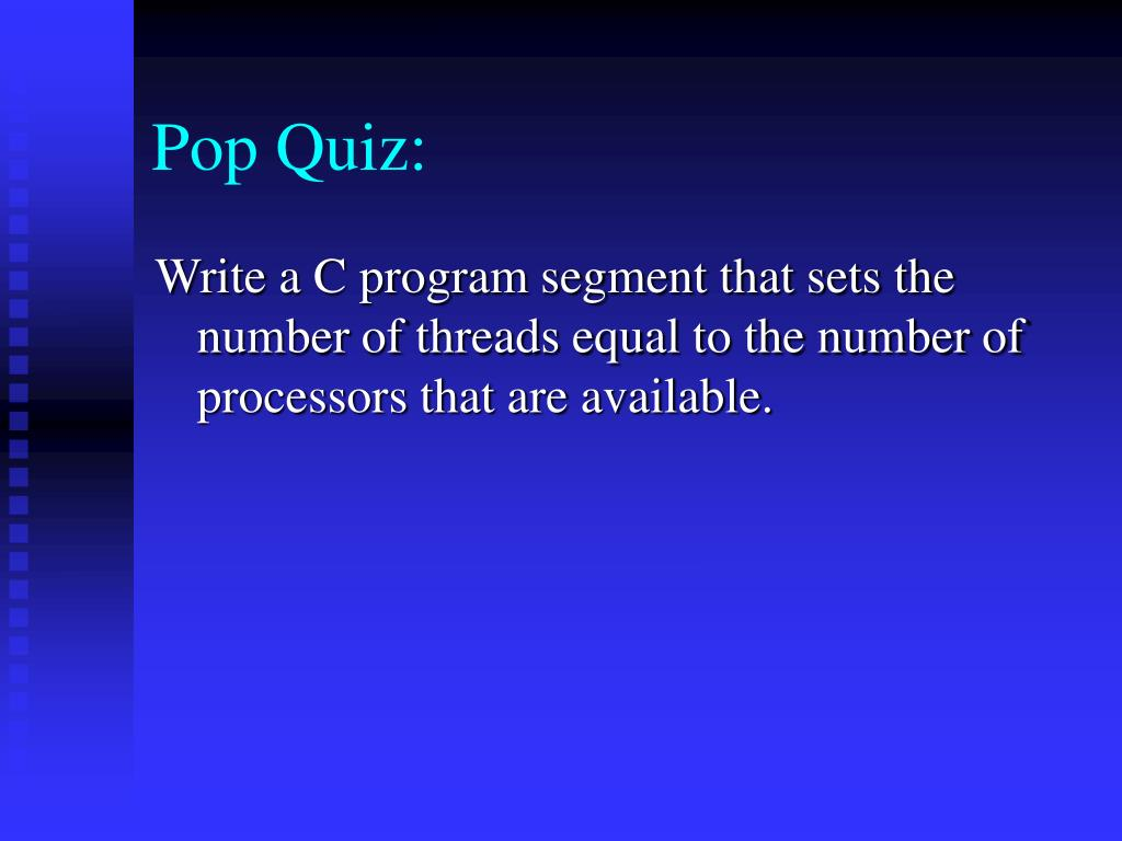 Pop Quiz: