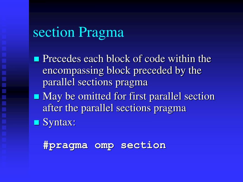 section Pragma