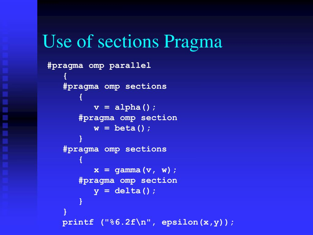 Use of sections Pragma