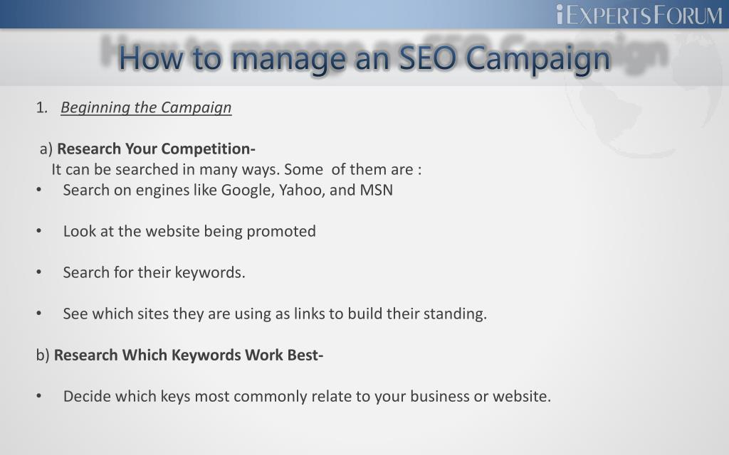 How to manage an SEO Campaign