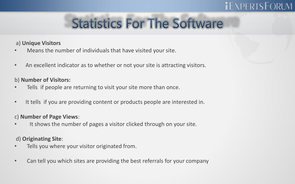 Statistics For The Software