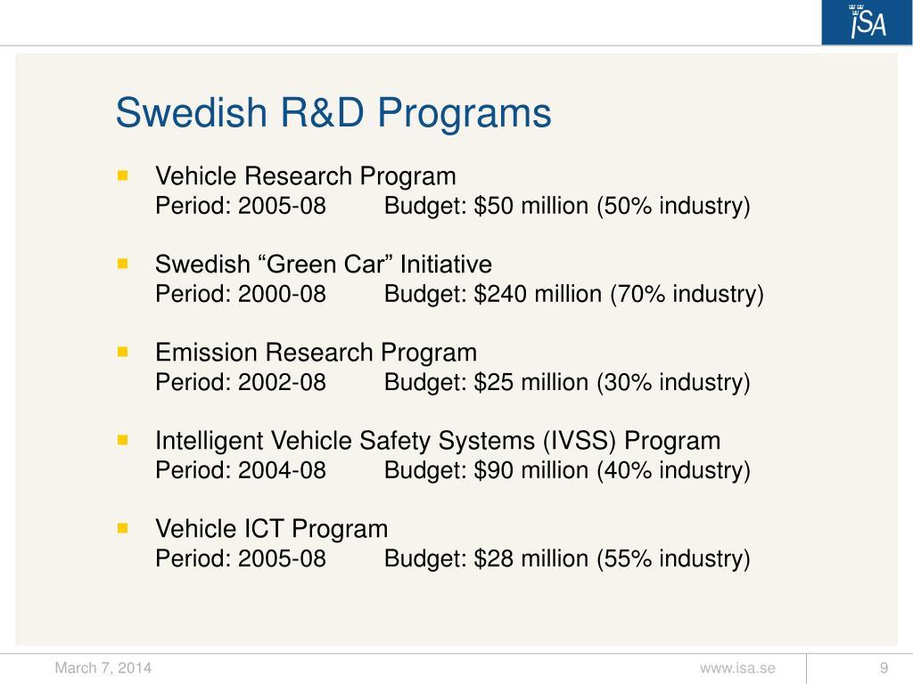 Swedish R&D Programs