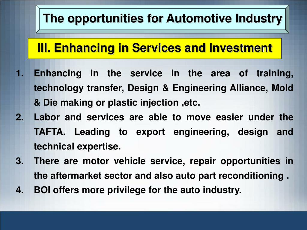 The opportunities for Automotive Industry