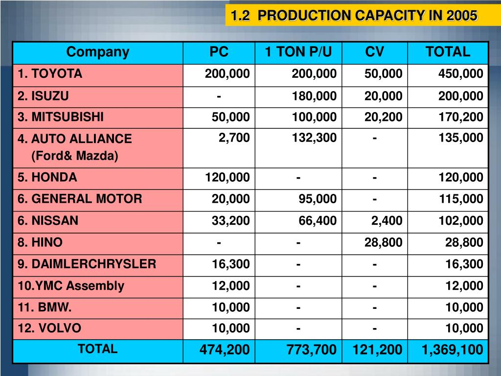 1.2  PRODUCTION CAPACITY IN 2005