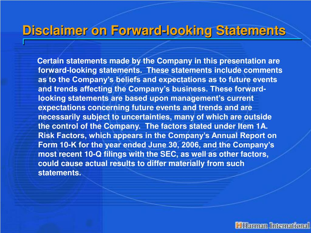 Disclaimer on Forward-looking Statements