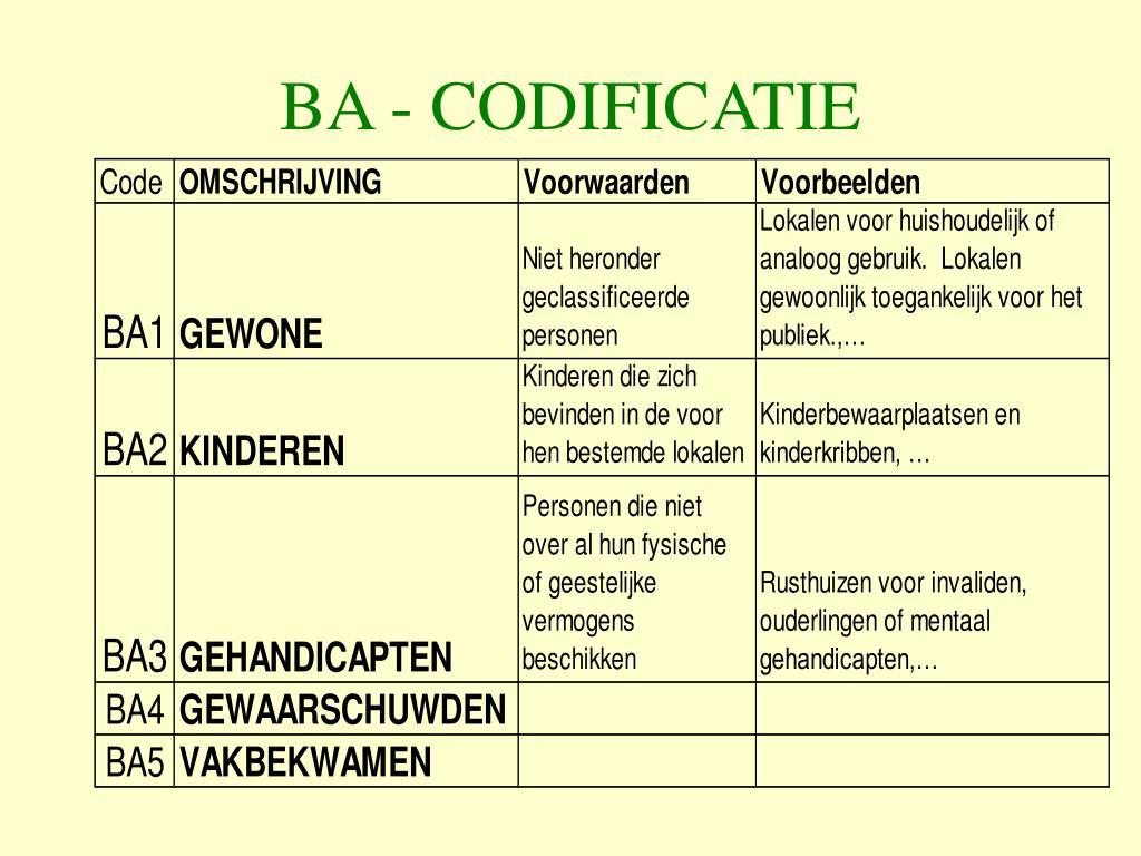 BA - CODIFICATIE