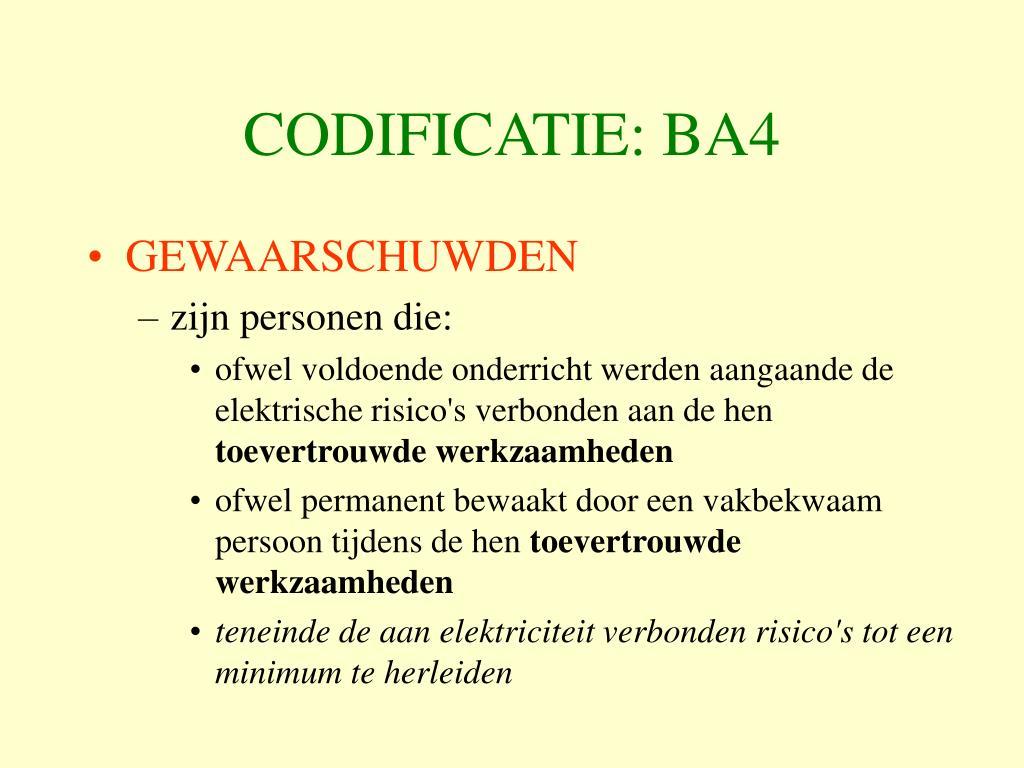 CODIFICATIE: BA4