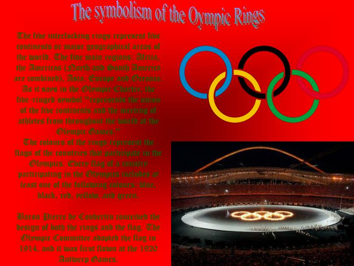 The symbolism of the Oympic Rings