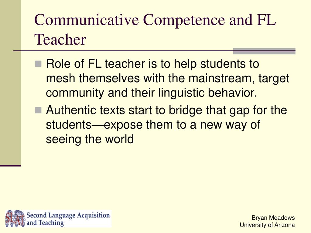 Communicative Competence and FL Teacher