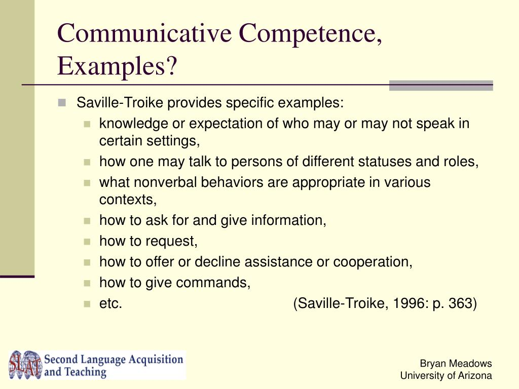 Communicative Competence, Examples?