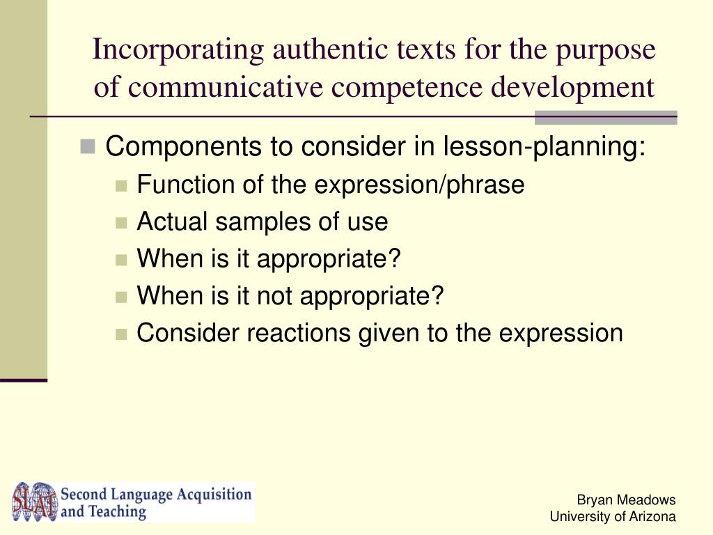 Incorporating authentic texts for the purpose of communicative competence development