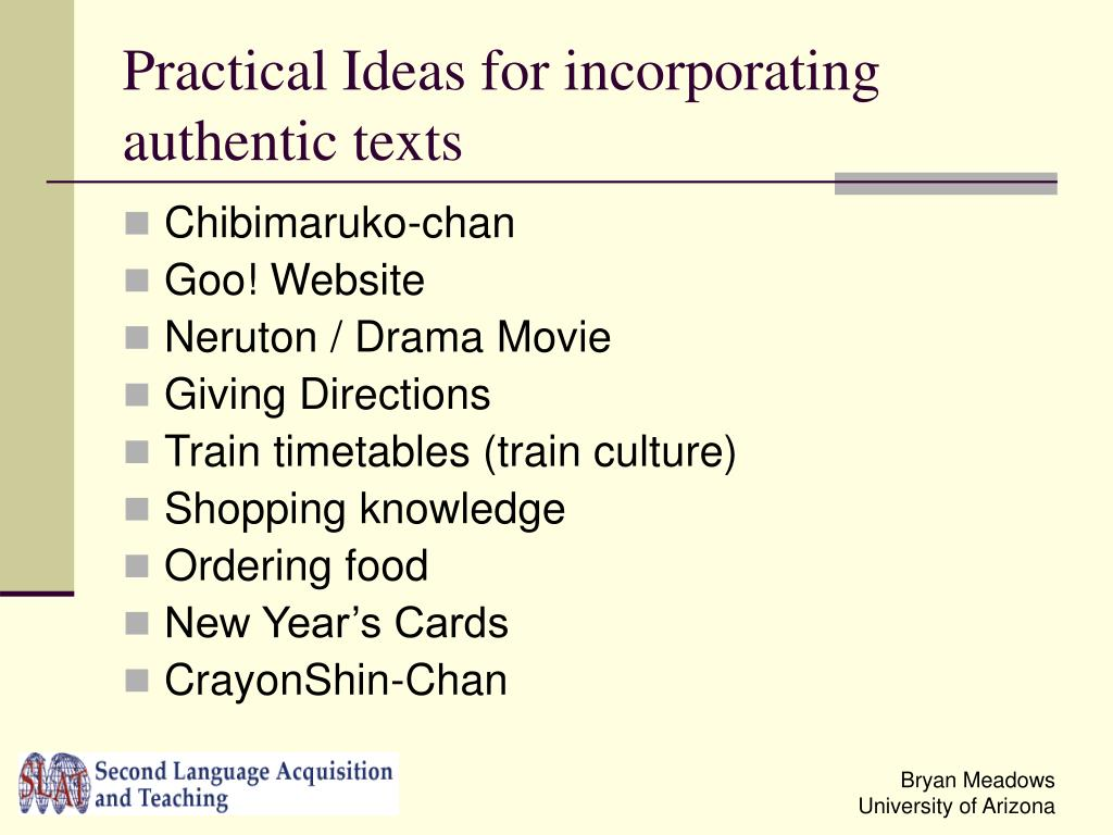 Practical Ideas for incorporating authentic texts