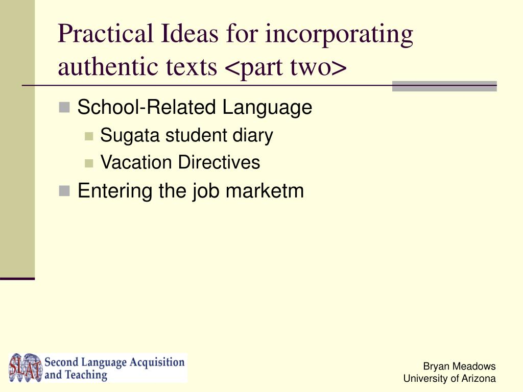 Practical Ideas for incorporating authentic texts <part two>