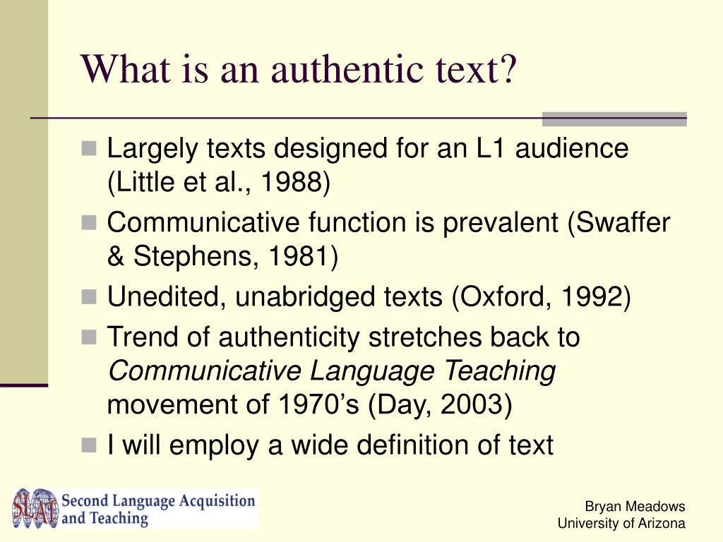 What is an authentic text?