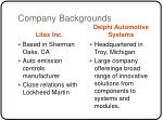 company backgrounds