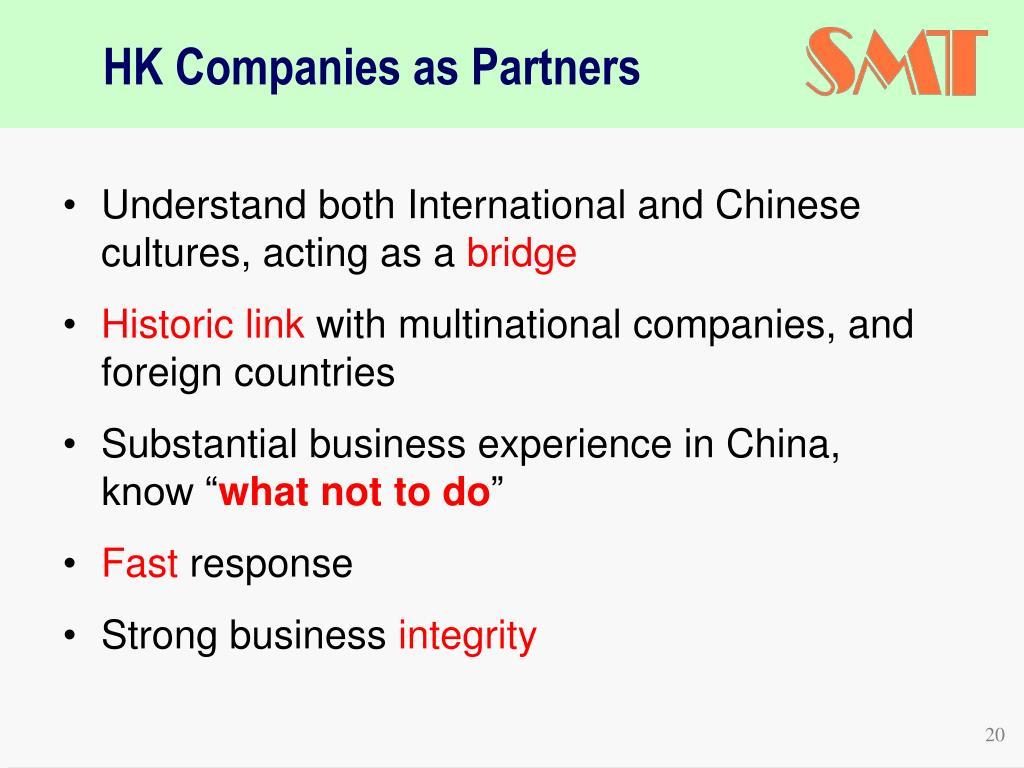 HK Companies as Partners