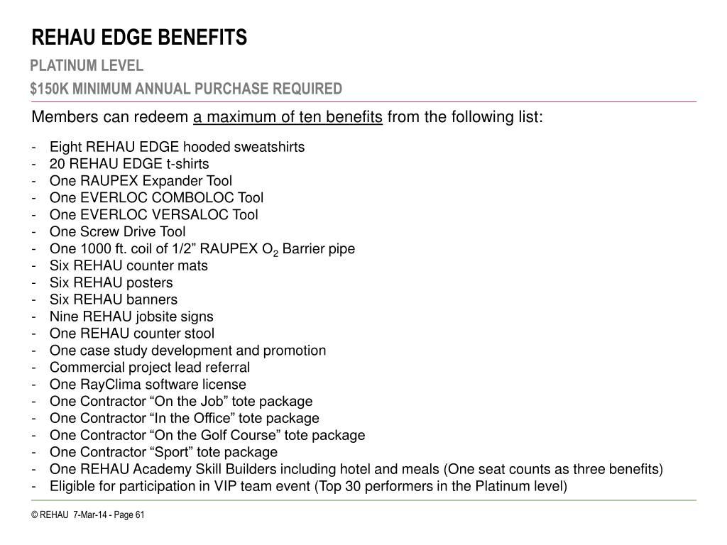 REHAU EDGE BENEFITS