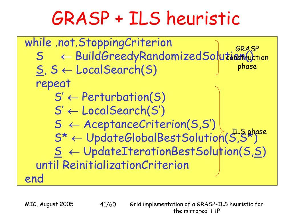 GRASP + ILS heuristic
